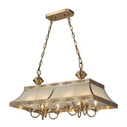 Elk Lighting Conley 8 Light Kitchen Island Pendant in Brushed Brass