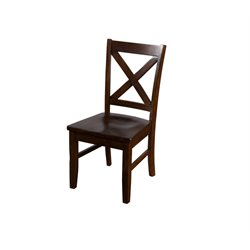 Sunny Designs Cross Back Wood Dining Chair in Dark Chocolate