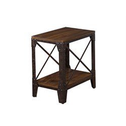 Sunny Designs Crosswind End Table in Weathered Mocha