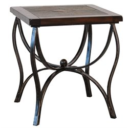 Sunny Designs Santa Fe Slate End Table in Dark Chocolate