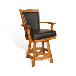 Sedona Swivel Bar Stool with Cushion in Rustic Oak