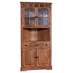 Sunny Designs Sedona Corner China Cabinet in Rustic Oak