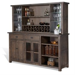 Sunny Designs Homestead Buffet with Wine Rack Hutch in Tobacco Leaf