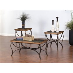 Sunny Designs Sedona 3 Piece Coffee Table Set in Rustic Oak