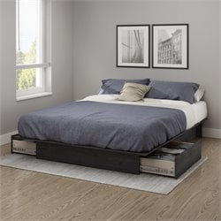 South Shore Step One Full Queen Platform Bed in Gray Oak