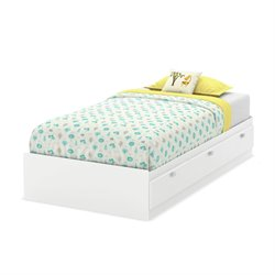 South Shore Karma Twin Mates Bed with 3 Drawers in Pure White