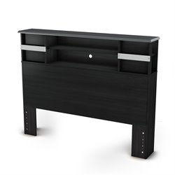 South Shore Lazer Full Bookcase Headboard in Black Onyx