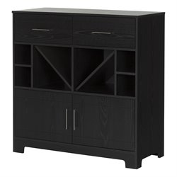 South Shore Vietti Wine Rack Sideboard in Black Oak