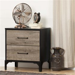 South Shore Valet 2 Drawer Nightstand in Weathered Oak and Ebony