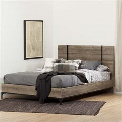 South Shore Valet Queen Panel Platform Bed in Weathered Oak