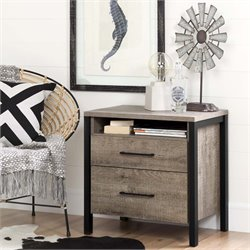 South Shore Munich 2 Drawer Nightstand in Weathered Oak