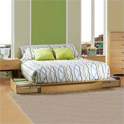 South Shore Copley Full / Queen Wood Storage Platform Bedroom Set in Maple