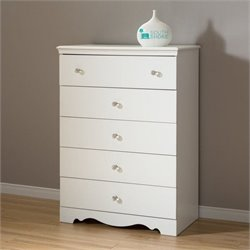 South Shore Crystal 5 Drawer Chest in Pure White