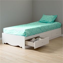 South Shore Crystal Twin Mates Bed in Pure White