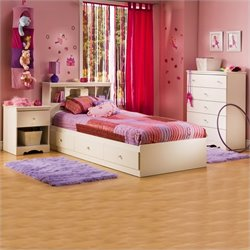 South Shore Crystal White Kids Twin Wood Captain's Storage Bed 3 Piece Bedroom Set