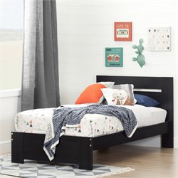 South Shore Reevo Twin Bed in Black Onyx