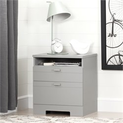 South Shore Reevo Nightstand in Soft Gray