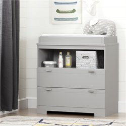 South Shore Reevo 2 Drawer Changing Table in Soft Gray