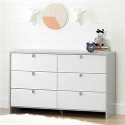 South Shore Cookie 6 Drawer Dresser in Soft Gray and Pure White