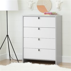 South Shore Cookie 4 Drawer Chest in Soft Gray and Pure White