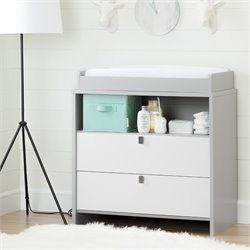 South Shore Cookie 2 Drawer Changing Table in Soft Gray and Pure White