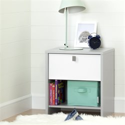 South Shore Cookie Nightstand in Soft Gray and Pure White