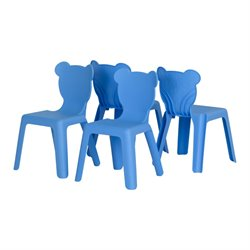 South Shore Crea Kids Plastic Stacking Chairs in Blue (Set of 4)