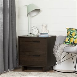South Shore Fynn 2 Drawer Nightstand in Brown Oak