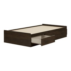 South Shore Fynn Twin Mates Bed with 3 Drawers in Brown Oak