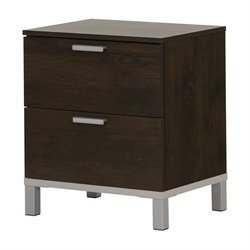 South Shore Flexible 2 Drawer Nightstand in Brown Oak