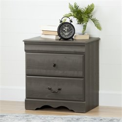 South Shore Vintage 2 Drawer Nightstand in Gray Maple