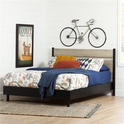 South Shore Morice Mid Century Modern Platform Bed in Ebony and Rustic Oak