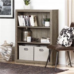 South Shore Kanji 3 Shelf Bookcase in Weathered Oak
