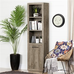 South Shore Kanji 5 Shelf Bookcase with doors in Weathered Oak