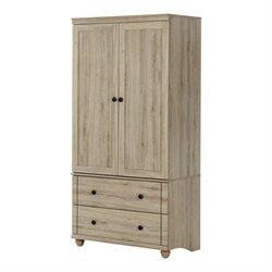 South Shore Hopedale 2 Drawer Armoire in Rustic Oak
