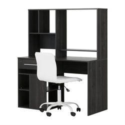 South Shore Annexe Writing Desk and Office Chair in Gray Oak