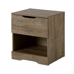 South Shore Holland 1 Drawer Nightstand in Weathered Oak