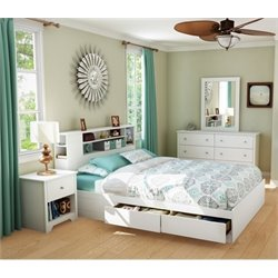 South Shore Breakwater 3 Piece Queen Storage Bedroom Set in White