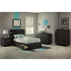 South Shore Fynn 4 Piece Twin Storage Bedroom Set in Gray Oak