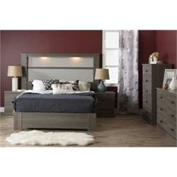 South Shore Gloria 5 Piece Queen Platform Bedroom Set in Gray Maple