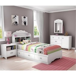 South Shore Sabrina 3 Piece Twin Storage Bedroom Set in Pure White