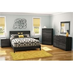 South Shore Tao 5 Piece Queen Platform Bedroom Set in Gray Oak