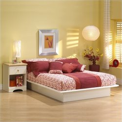 South Shore Newbury White Wood Platform Bedroom Set