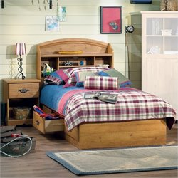 South Shore Prairie Kids Twin Wood Bookcase Bedroom Set in Country Pine