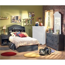 South Shore Summer Breeze Antique Blue Kids Twin Wood Captain's Bed 4 Piece Bedroom Set