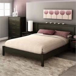 South Shore Gravity Queen Platform Bed in Ebony Finish