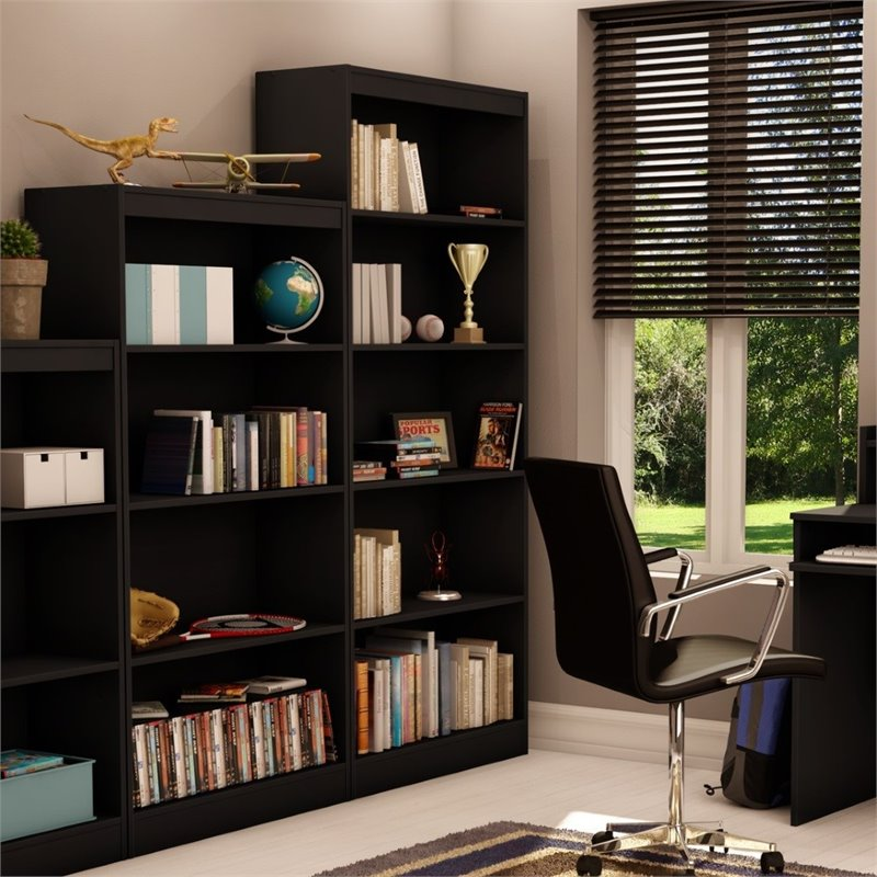south shore axess 5 shelf bookcase in pure black 7270768. Black Bedroom Furniture Sets. Home Design Ideas