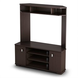 South Shore Vertex Corner TV Stand with Hutch in Chocolate Finish