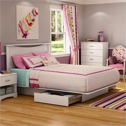 South Shore Maddox Full / Queen Platform Storage Bed Set in Pure White Finish