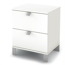 South Shore Affinato Nightstand in Pure White Finish